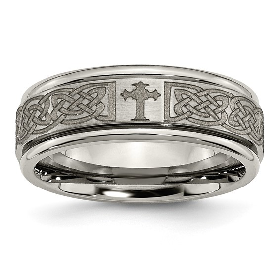 Titanium Ridged Edge 8mm Celtic Cross Design Band