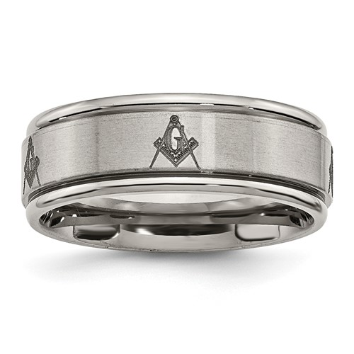 8mm Titanium Masonic Ring with Ridged Edges