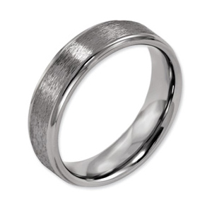 Titanium Satin Wedding Band with Ridged Edges 6mm
