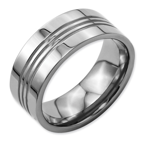Titanium 9mm Band with Grooves