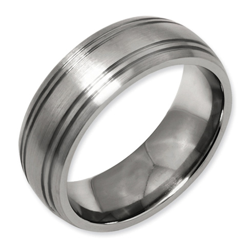 Titanium Grooved 8mm Satin Band