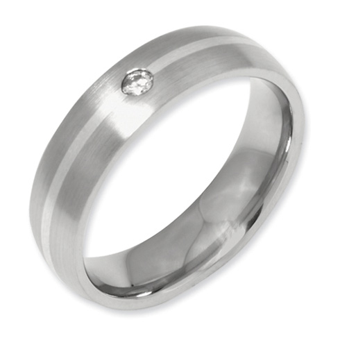 Titanium 6mm Diamond Sterling Silver Inlay Wedding Band