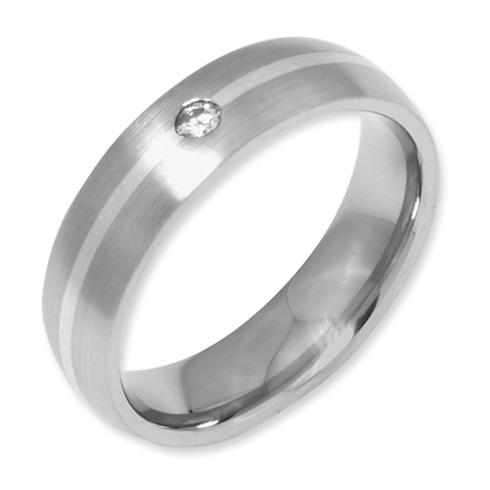 Titanium 6mm Diamond Sterling Silver Inlay Wedding Band