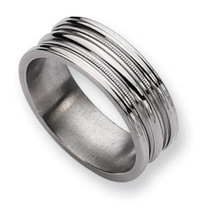 Titanium Grooved and Beaded 8mm Polished Band