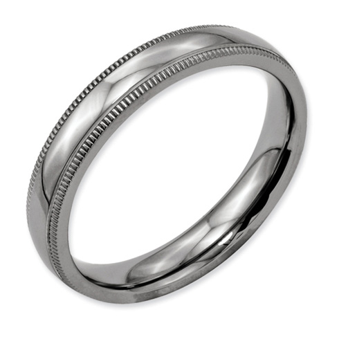 Titanium Milgrain 4mm Wedding Band
