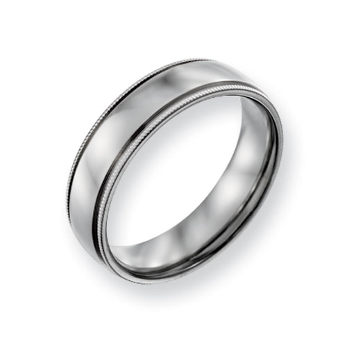 Titanium 6mm Milgrain Wedding Band