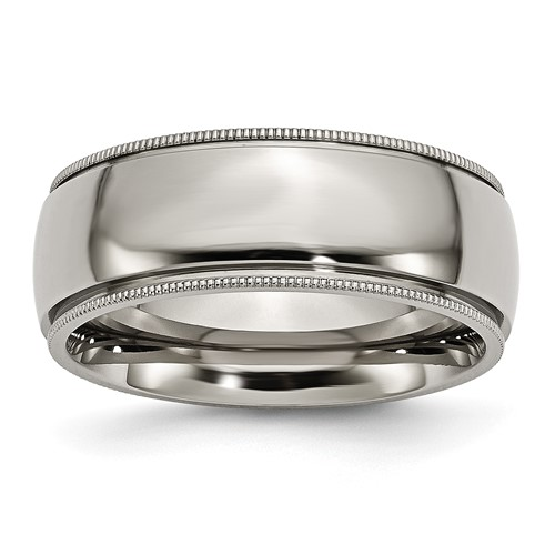Titanium 8mm Milgrain Wedding Band