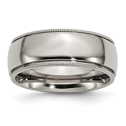 Titanium 8mm Milgrain Wedding Band
