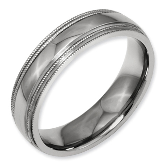 Titanium 6mm Double Milgrain Wedding Band