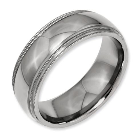 Titanium 8mm Double Milgrain Wedding Band