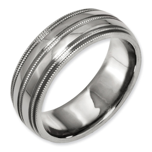 8mm Titanium Milgrain Band with Grooves