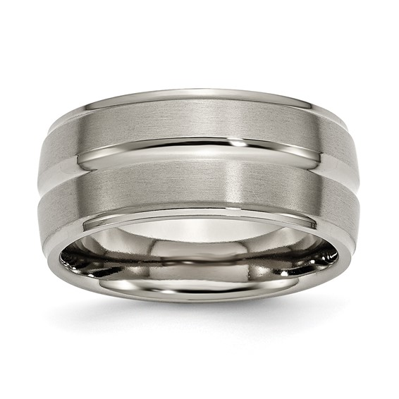 Titanium Grooved 10mm Band with Ridged Edges