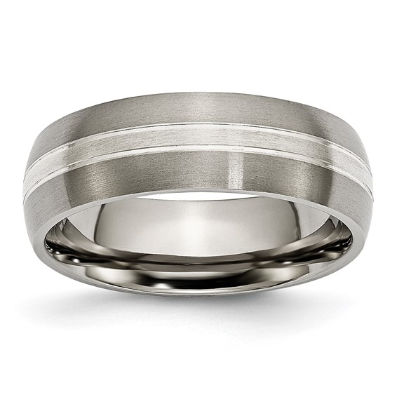 Titanium 7mm Sterling Silver Inlay Brushed Wedding Band