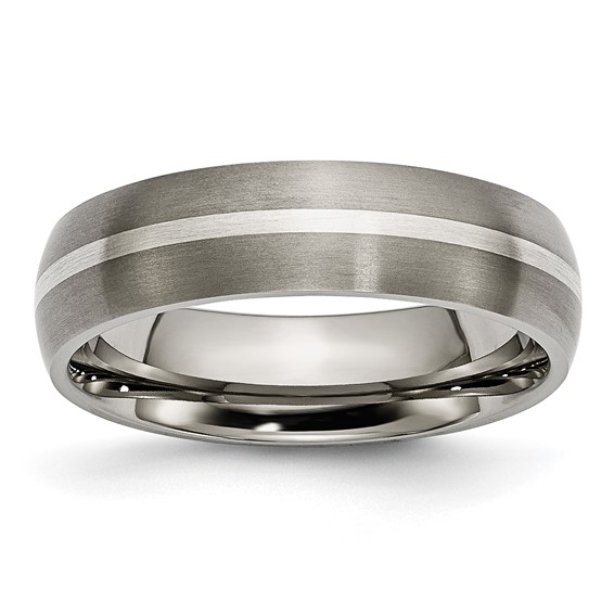 Titanium Ring with Sterling Silver Inlay Satin Finish 6mm
