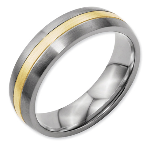 Titanium 14k Gold Inlay Wedding Band 6mm