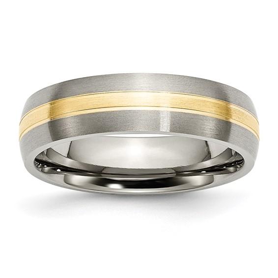 Titanium 14k Gold Inlay 6mm Band