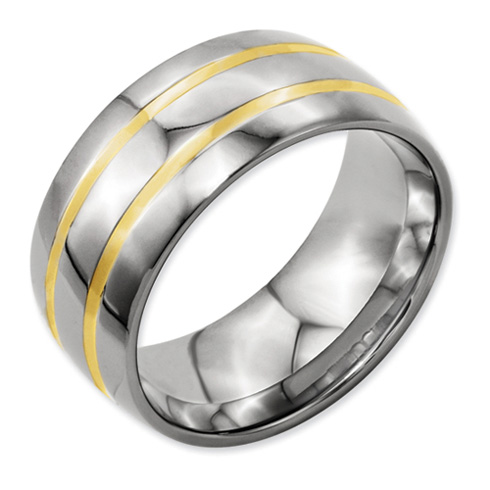 Titanium 14k Gold Inlay 10mm Band