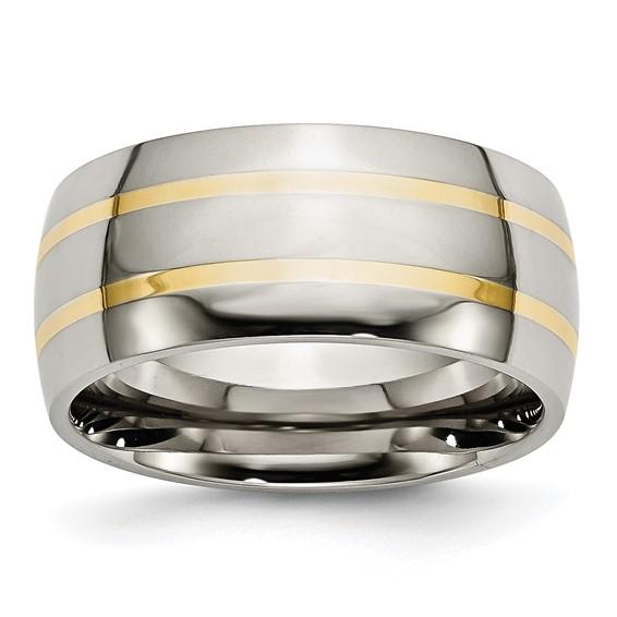 Titanium 14k Gold Inlay 10mm Band