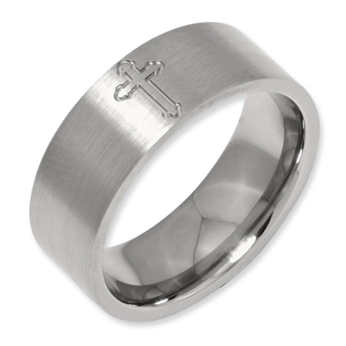 Titanium 8mm Satin Band with Cross