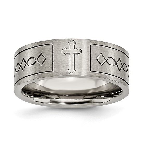 Titanium Cross Design 6mm Satin Band