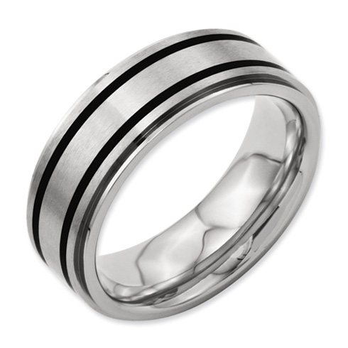 Titanium 8mm Band with Black Accents