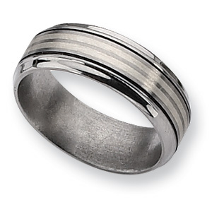 Titanium Sterling Silver Inlay 8mm Band