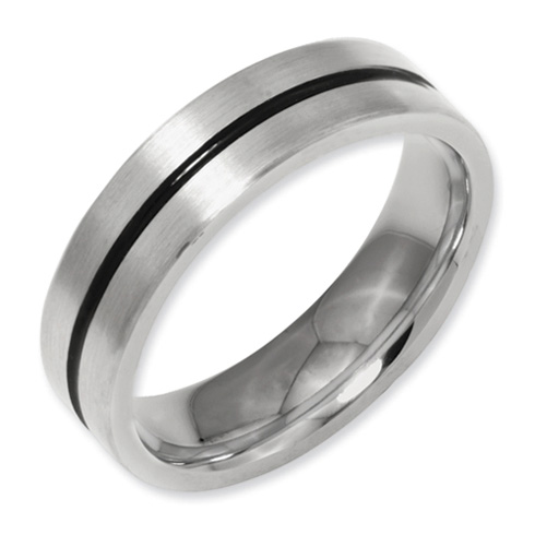 Titanium 6mm Flat Brushed Wedding Band with Black Accent