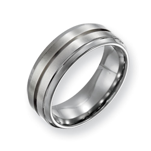 Titanium Grooved Satin Wedding Band with Ridged Edges 8mm