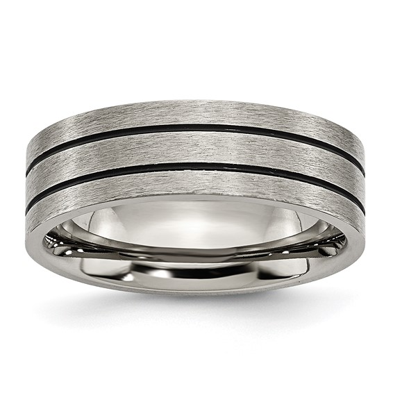 Titanium 7mm Band with Black Enamel Grooves