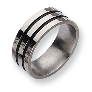 Titanium 8mm Wedding Band with Black Enameled Grooves