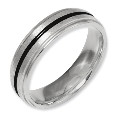 Titanium 6mm Band with Black Accent