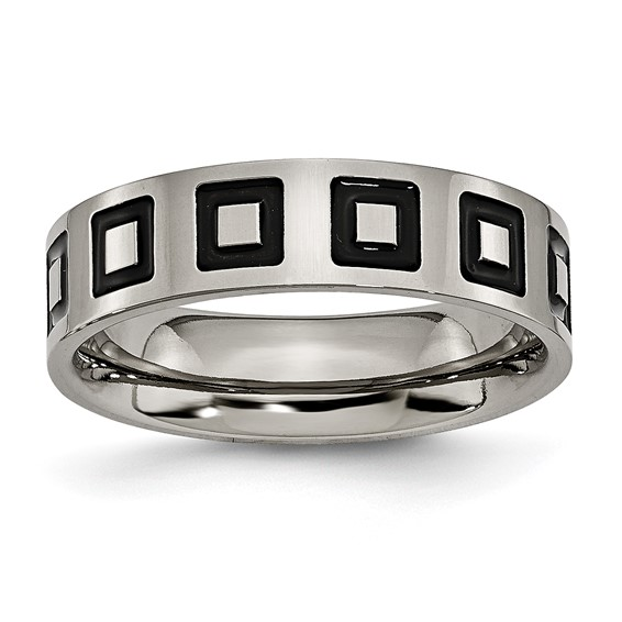 Titanium Enameled Flat 6mm Band
