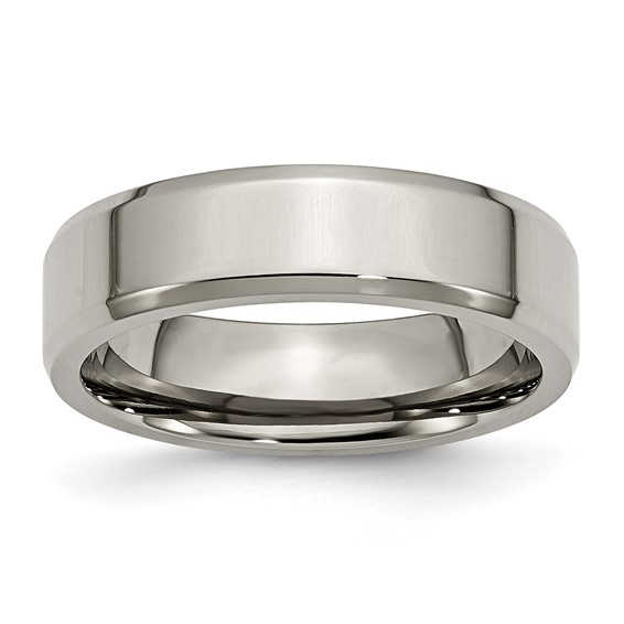 Titanium 6mm Wedding Band with Beveled Edges