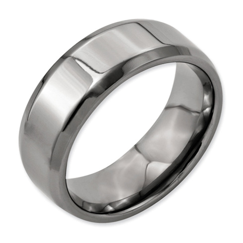 Titanium 8mm Wedding Band with Beveled Edges