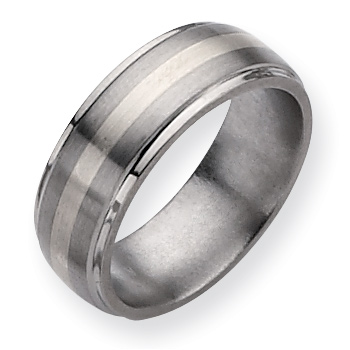 Titanium 8mm Sterling Silver Inlay Wedding Band