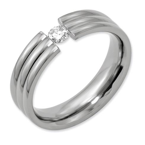 Titanium 1/4 ct Diamond 6mm Grooved Wedding Band