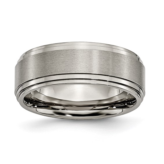 Titanium Ring with Satin Finish and Double Ridged Edges 8mm