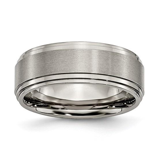 8mm Titanium Ring with Satin Finish and Ridged Edges