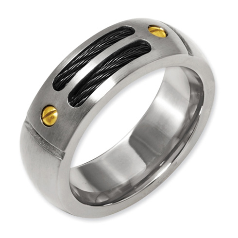 Titanium 8mm Ring with 24k Gold Accents and Black Cables