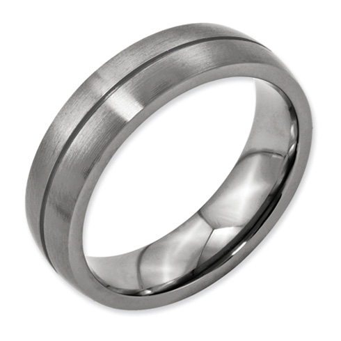 Titanium Grooved 6mm Satin Wedding Band