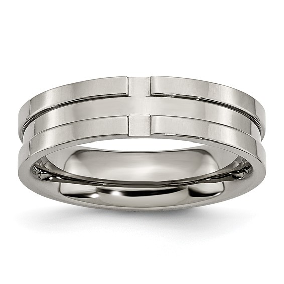 Titanium 6mm Grooved Polished Wedding Band