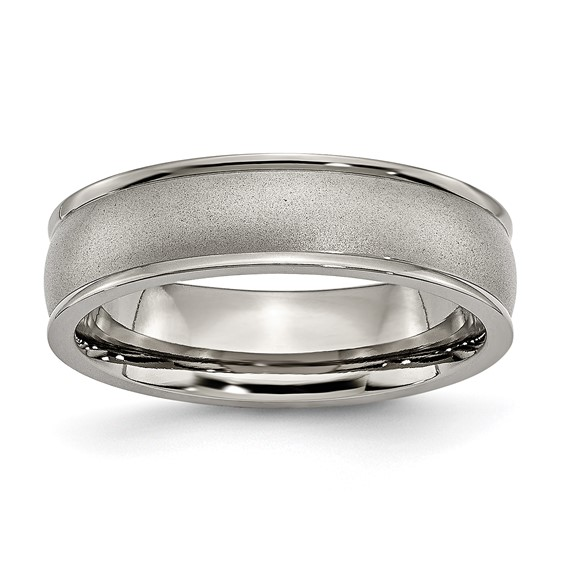 Titanium 6mm Wedding Band with Ridged Edges