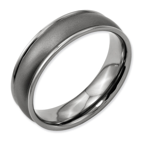 Titanium Satin Domed Wedding Band with Ridged Edges 6mm