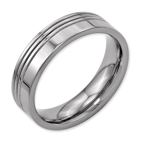 Titanium 6mm Offset Grooved Wedding Band