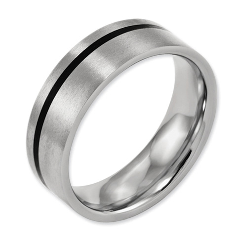 Titanium 7mm Wedding Band with Black Rubber Accent