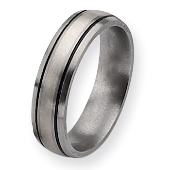 Titanium Ring with Black Stripes and Sterling Silver Inlay 6mm