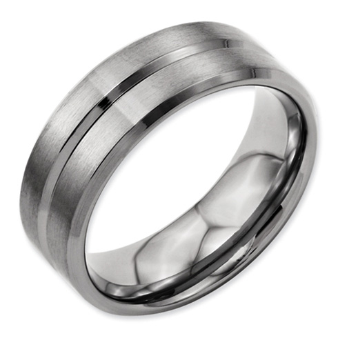 Titanium 8mm Grooved Wedding Band with Beveled Edges