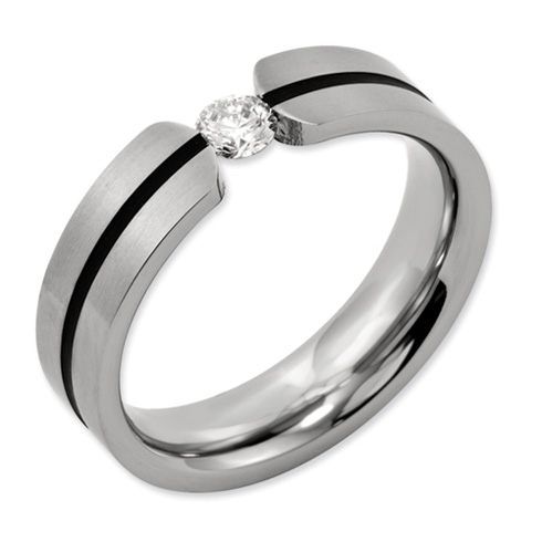 1/3 ct Diamond Tension Set Titanium 6mm Band with Black Groove