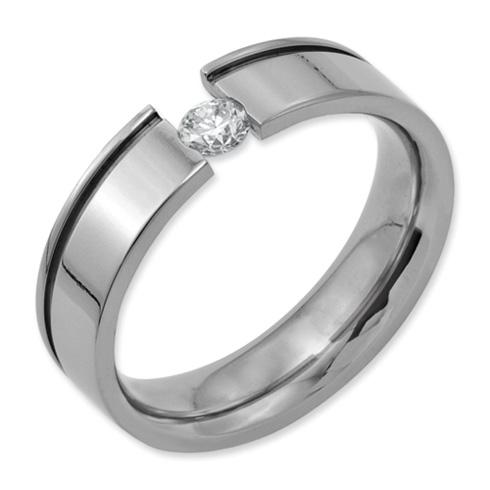 Titanium 1/4 ct Diamond 6mm Wedding Band with Groove