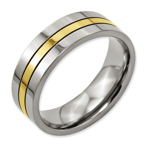 Titanium 14k Gold Plated 7mm Wedding Band